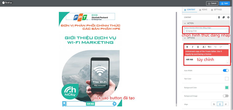 Hướng dẫn setup tính năng click trên hệ thống wifi marketing